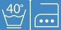 Pflegehinweis waschbar bei 40 Grad, bügelbar auf Stufe 3