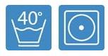 Pflegehinweis waschbar bei 40 Grad, bügelbar auf Stufe 1